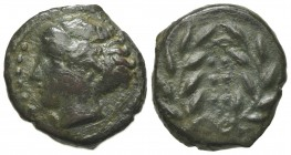 Sicily, Himera, c. 420-407 BC. Æ Hemilitron (16mm, 3.43g, 1h). Head of nymph l.; six pellets before. R/ Six pellets within wreath. CNS I, 35; SNG ANS ...