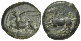 "Sicily, ""Kainon"", c. 360-340 BC. Æ (22mm, 10.53g, 9h). Griffin springing l. R/ Horse prancing l., trailing rein. Campana 1; CNS I, 1; SNG ANS 1169-74 ..."