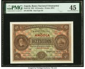 Angola Banco Nacional Ultramarino 10 Escudos 1.1.1921 Pick 58 PMG Choice Extremely Fine 45. Finest graded example in PMG Population Report. Minor repa...