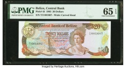 Belize Central Bank 20 Dollars 1.7.1983 Pick 45 PMG Gem Uncirculated 65 EPQ.   HID09801242017  © 2020 Heritage Auctions | All Rights Reserved