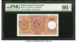 Bhutan Royal Government 5 Ngultrum ND (1974) Pick 2 PMG Gem Uncirculated 66 EPQ. Staple holes at issue.  HID09801242017  © 2020 Heritage Auctions | Al...