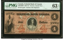 Canada Toronto, CW- Colonial Bank of Canada $4 1859 Ch.# 130-10-04-08 PMG Choice Uncirculated 63 EPQ.   HID09801242017  © 2020 Heritage Auctions | All...