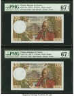 France Banque de France 10 Francs 4.7.1968 Pick 147c Two Consecutive Examples PMG Superb Gem Unc 67 EPQ (2).   HID09801242017  © 2020 Heritage Auction...