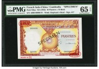 French Indochina Institut d'Emission des Etats, Cambodia 10 Piastres = 10 Riels ND (1953) Pick 96as Specimen PMG Gem Uncirculated 65 EPQ.   HID0980124...