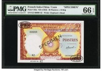 French Indochina Institut d'Emission des Etats, Laos 10 Piastres = 10 Kip ND (1953) Pick 102s Specimen PMG Gem Uncirculated 66 EPQ.   HID09801242017  ...