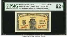 French West Africa Banque de l'Afrique Occidentale 5 Francs 14.12.1942 Pick 28s1 Specimen PMG Uncirculated 62 Net. Rust damage.  HID09801242017  © 202...