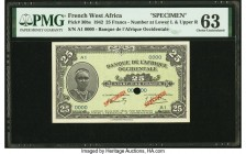 French West Africa Banque de l'Afrique Occidentale 25 Francs 14.12.1942 Pick 30bs Specimen PMG Choice Uncirculated 63. One POC.  HID09801242017  © 202...