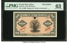 French West Africa Banque de l'Afrique Occidentale 100 Francs 14.12.1942 Pick 31s Specimen PMG Choice Uncirculated 63. Minor rust, one POC.  HID098012...