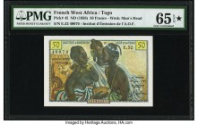 French West Africa Institut d'Emission de l'A.O.F. et du Togo 50 Francs ND (1956) Pick 45 PMG Gem Uncirculated 65 EPQ S.   HID09801242017  © 2020 Heri...