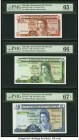 Gibraltar Government of Gibraltar 1; 5; 10 Pounds 4.8.1988 (2); 21.10.18986 Pick 20e; 21b; 22b Three Examples PMG Gem Uncirculated 65 EPQ; Gem Uncircu...