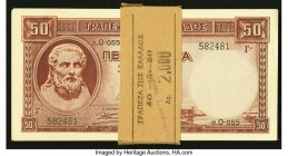 Greece Bank of Greece 50 Drachmai 1941 (ND 1945) Pick 168 40 Consecutive Examples Crisp Uncirculated.   HID09801242017  © 2020 Heritage Auctions | All...