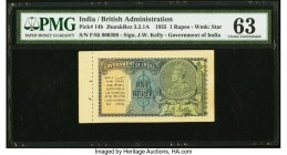 India Government of India 1 Rupee 1935 Pick 14b Jhun3.2.1A PMG Choice Uncirculated 63. With book selvage.  HID09801242017  © 2020 Heritage Auctions | ...