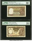 India Reserve Bank of India 5 Rupees; 5 Kyats ND (1937); ND (1953) Pick 18a; 43 Two Examples PMG Very Fine 30; Choice Very Fine 35 EPQ. Staples holes ...