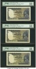 India Reserve Bank of India 10 Rupees ND (1937) Pick 19a Jhun4.5.1 Three Consecutive Examples PMG About Uncirculated 55 Net; About Uncirculated 55; Ab...