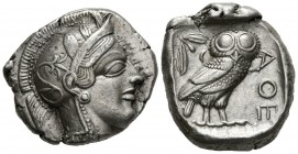 ATICA, Athens. Tetradrachm. (Ar. 17.21g \/ 27mm). 454-404 BC Anv: Head to the right of Athena, with ornate helmet and pendant. Rev: Owl right shelf fa...