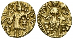 KUSHAN EMPIRE, Kidara. Stater. (Au 7.75g \/ 19mm). 360-380 AD Taxila. Anv: Shelf emperor holding trident. Rev: Goddess Ardoksho sitting on the throne ...