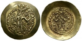 KUSHANO-SASANIDA EMPIRE, Bahram I. Dinar. (Au 7.52g \/ 33mm). 325-350 AD Balkh. Anv: Bahram I crowned shelf on left carrying trident, in front trident...