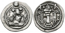 SASANIDA EMPIRE, Hormzid IV. Drachm. (Ar. 3.71g \/ 27mm). Istakhr (ST). Anv: Crowned bust of Hormzid IV on the right. Rev: Altar with fire between two...
