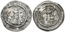 EMPIRE SASANIDA, Khusro I. Drachma. (Ar. 4.01g \/ 30mm). Susa (AY). Anv: Bust of Khusro I crowned on the right. Rev: Altar with fire between two guard...