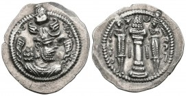 EMPIRE SASANIDA, Peroz I. Drachma. (Ar. 4.16g \/ 28mm). Veh-Antiok-Shapur (WH). Anv: Crowned bust of Peroz I on the right. Rev: Altar with fire betwee...