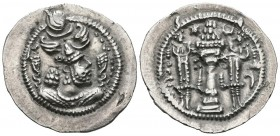 EMPIRE SASANIDA, Khusro I. Drachma. (Ar. 4.16g \/ 27mm). Susa (AY). Anv: Bust of Khusro I crowned on the right. Rev: Altar with fire between two guard...