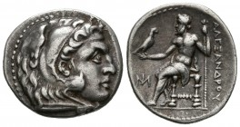 IONIA, Miletos. Drachm. Minted in the name of Alexander III of Macedonia. 295-275 BC A \/ Head of Herakles to the right with lion skin headdress. R \/...