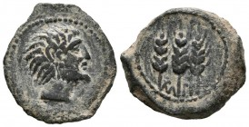 MAURITANIA, Tingi. Ae21. (Ae. 3.75g \/ 21mm). 118-33 BC Anv: Bearded head to the right. Rev: Three spikes, among them neo-punic legend. (SNG Copenhage...