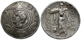 KINGS OF MACEDONIA, Antigones II Gonatas. Tetradrachm. (Ar. 17.00g \/ 31mm). 277-239 BC Amphipolis. Anv: Pan's head behind staff, all within shield wi...