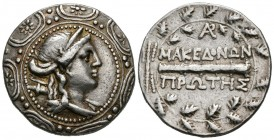 MACEDONIA (Under Roman control), Amphipolis. Tetradrachm. (Ar. 16.93g \/ 30mm). 167-149 BC BCE: Diademic bust to the right of Artemis carrying a bow a...