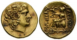 KINGS OF PONTOS, Mithradates VI Eupator. Stater. (Au 8.29g \/ 19mm). 88-86 BC Istros. Anv: Diademic head of Alexander III the Great on the right with ...