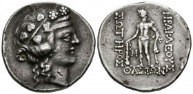 THRACE ISLANDS, Thasos. Tetradrachm. (Ar. 16.73g \/ 32mm). 140-110 BC Anv: Juvenile diademic head of Dionysus on the right. Rev: Heracles shelf to the...