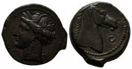 ZEUGITANIA, Sardinia. Ae21. (Ae. 5.81g \/ 21mm). 264-241 BC Anv: Diademic head to the left of Tanit. Rev: Horse head to right, in front of Phoenician ...