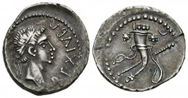 KINGS OF MAURITANIA, Juba II. Denarius. (Ar. 3.10g \/ 19mm). 25 BC-AD 24 Caesarea. Anv: REX IVBA. Laureate bust to the right of Juba II. Rev: Cornucop...