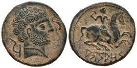 ARSAOS (Navarra area). As. (Ae. 8.59g \/ 24mm). 120-80 BC Anv: Male head bearded to the right between plow and dolphin. Rev: Rider with dart to the ri...