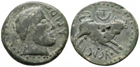 ASIDO (Medina Sidonia, C\u00e1diz). As. (Ae. 14.59g \/ 30mm). 50 BC Anv: Male head to the right, in front ASIDO. Rev: Bull on the right, above crescen...