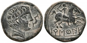 BARSCUNES (Pamplona, Navarra). As. (Ae. 7.83g \/ 24mm). 120-20 BC Anv: Bearded head to right, in front of dolphin down. Rev: Horseman with sword to th...