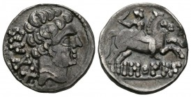BASCUNES (Pamplona, Navarra). Denarius. (Ar. 3.76g \/ 18mm). 120-20 BC Anv: Bearded head to the right, behind Iberian legend: BeNCoDa. Rev: Horseman w...