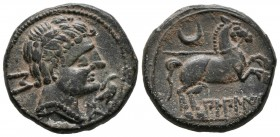 BILBILIS (Calatayud, Zaragoza). Semis. (Ae. 7.00g \/ 21mm). 120-30 BC Anv: Male head to the right, behind the Iberian letter S, in front of the dolphi...