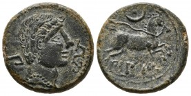 BILBILIS (Calatayud, Zaragoza). Semis. (Ae. 4.97g \/ 19mm). 120-30 BC Anv: Male head to the right, behind the Iberian letter Bi, in front of the dolph...