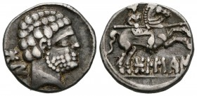 BOLSCAN (Huesca). Denarius. (Ar. 3.81g \/ 18mm). 120-20 BC Anv: Bearded head to the right, behind Iberian letters BoN. Rev: Rider with spear to the ri...