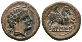 BOLSCAN (Huesca, Aragon). Semis. (Ae. 5.91g \/ 20mm). 180-20 BC Anv: Bearded head to the right, behind Iberian letter Bo. Rev: Pegasus on the right, b...