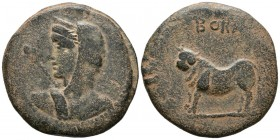 BORA (Alcaudete, Ja\u00e9n). Semis. (Ae. 23.56g \/ 34mm). 100-50 BC Anv: Female bust to the left, in front of the scepter. Rev: Bull left on line, abo...