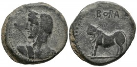 BORA (Alcaudete, Ja\u00e9n). So (Ae. 19.67g \/ 34mm). 100-50 BC Anv: Female bust to the left, in front of the scepter. Rev: Bull left on line, above: ...