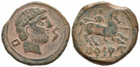 BURSAU (Borja, Zaragoza). As. (Ae. 16.51g \/ 27mm). 120-80 BC Anv: Bearded head to the right, behind the Iberian letter Bu, in front of the dolphin. R...