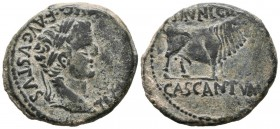 CAISCATA (Cascante, Navarra). As. (Ae. 12.06g \/ 28mm). AD 14-36 Anv: Laureate head of Tiberius right, around: TI. CAESAR. DIVI. AVG. F. AVGVSTVS. Rev...