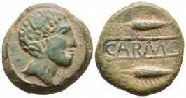 CARMO (Carmona, Seville). As. (Ae. 17.00g \/ 26mm). 80 BC Anv: Male head to the right. Rev: Two spikes on the right, between them: CARMO. (FAB-459). F...