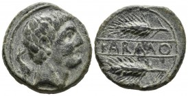 CARMO (Carmona, Seville). As. (Ae. 10.26g \/ 23mm). 80 BC Anv: Male head to right, behind dolphin. Rev: Two spikes on the right, between them: KARMO. ...