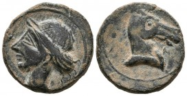 CARTAGONOVA (Cartagena, Murcia). Tracing. (Ae. 8.18g \/ 21mm). 220-215 BC Anv: Head of Tanit to the left. Rev: Horse head to the right, below Phoenici...