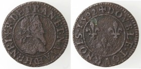 Francia. Chalons Sur Marne. Henry IV. 1589-161. Doppio Tornese 1592. Ae.