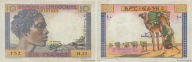 Country : DJIBOUTI  Face Value : 10 Francs   Date : (1946)  Period/Province/Bank : Banque de l'Indochine  Catalogue reference : P.19  Alphabet - signa...